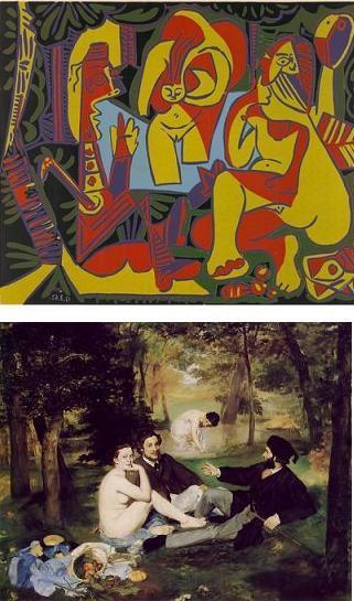 ↑ 위 사진은 피카소가 19세기 마네의 '풀밭위의 점심'(아래사진)을 1962년 리메이크한 작품. 피카소는 작품에 원작과 같은 이름을 붙이면서 '마네를 따라서(after Manet)'를 추가로 명기하는 성의를 보였다. 피카소는 같은 작품을 몇번 리메이크했지만 할때마다 마네를 따라서 1,2,3로 일련번호를 붙여나갔다.