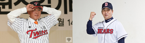 ↑LG의 김기태(왼쪽) 신임 감독과 두산의 김진욱 신임 감독/사진제공 LG 두산
