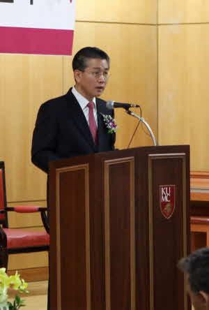 이상우 고대 안산병원 신임 병원장이 취임식에서 취임사를 하고 있다.