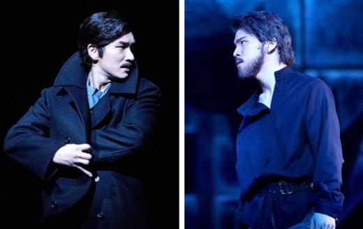 ↑ 뮤지컬 '닥터지바고'에서 주인공 유리지바고 역을 맡은 조승우(왼쪽)와 홍광호 ⓒ오디뮤지컬컴퍼니