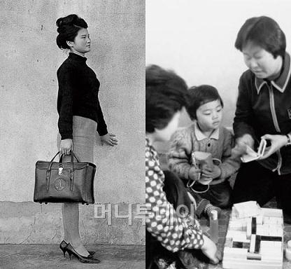 ↑1960~1970년대 태평양 방문판매 직원 이미지(사진 왼쪽), 당시 고객의 집을 찾아가 제품에 대해 설명하는 방문판매 직원의 모습(사진 오른쪽)ⓒ아모레퍼시픽