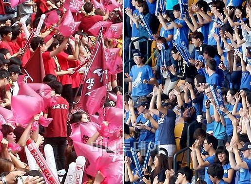 ▲열정적인 응원을 펼치고 있는 양교 학생들