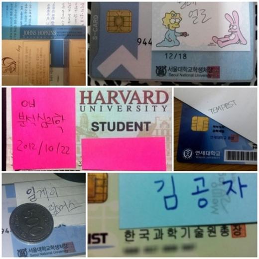▲ '학력인증' 게시글에 올라온 유명 대학교 학생증 사진들 ⓒilbe.com