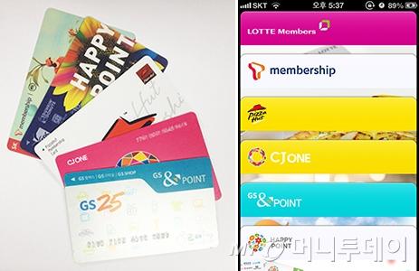 ↑지갑의 부피를 차지하는 메버쉽 카드를 패스북으로 이동