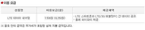 ↑KT LTE 데이터 쉐어링 요금표