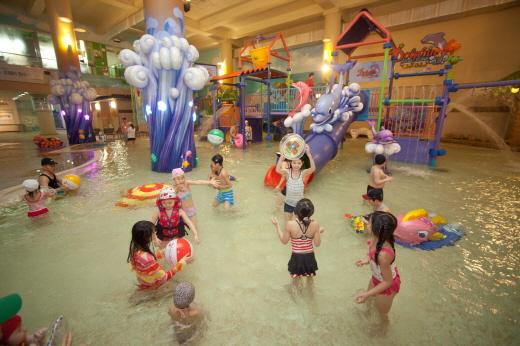 웅진플레이도시는 도심형 워터파크답게 아이들을 위한 놀이시설에 공을 들이고 있다. 올해 3월 새롭게 개장한 돌핀키즈존/사진제공=웅진플레이도시