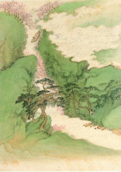 도판: 왕휘(1632~1717) <복사꽃 사이로 어부가 배를 타는 그림 [桃花漁艇圖]> 중국, 청대 『陶淵明逸致特展』(타이페이고궁박물원, 1988), 도24