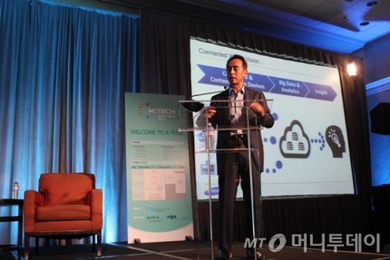 손영권 삼성전자 전력혁신센터 사장이 14일(현지시간) 캘리포니아 산타클라라에서 열린 'K-테크@실리콘밸리 2013' 행사에서 기조연설을 하고 있다. /코트라 제공