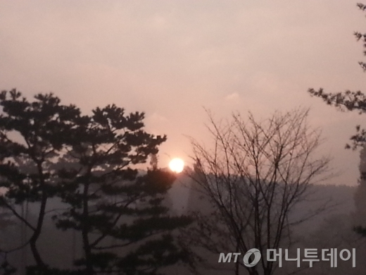중국에서 넘어온 미세먼지로 뿌연 공기를 뚫고 빨간 해가 산 위로 올라온다. 햇살의 힘은 미세먼지로 뿌연해진 안개도 금새 증발시킬 정도로 세다. 2013년 11월23일, 경기도 수원CC 구코스 3번홀의 일출.