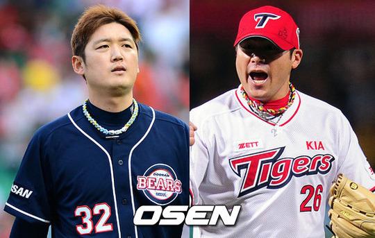 ↑ 김선우(사진 왼쪽)와 서재응 ⓒ사진제공=OSEN