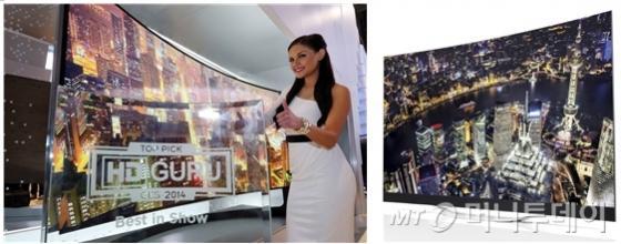 CES 2014에서 혁신상을 대거 수상한 삼성전자 105형 커브드 UHD TV(왼쪽)과 LG전자 77형 곡면 울트라HD 올레드 TV(오른쪽)./사진제공=각사<br /> <br />