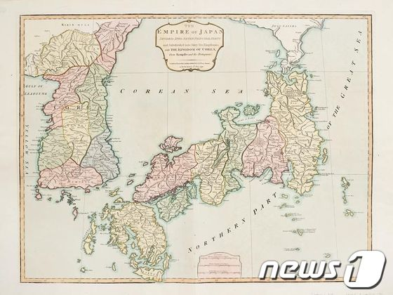 18세기 영국에서 제작된 지도에 동해가 '한국해'로 표기돼 있다./사진제공=경북대ⓒ뉴스1 News1