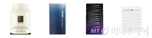 사진 왼쪽부터 까쉐 '드라이 스킨 솔루션 케이', 오휘 '포맨 아쿠아 리차져', 미샤 '포맨 사이언스 액티베이터 앰플', 미샤 '포맨 퓨어 액티브 시트 마스크'/사진=각 업체