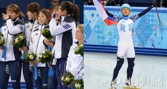 여자 쇼트트랙 3000m 계주 금을 따낸 영광의 얼굴들(좌)과 안현수./사진=뉴스1