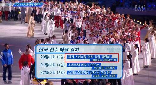 KBS 1TV가 24일 오전 1시 소치 동계올림픽 폐막식을 생중계하며 김연아는 실제로는 금메달인 은메달을 땄다는 자막을 삽입해 화제다/ 사진=KBS 캡처