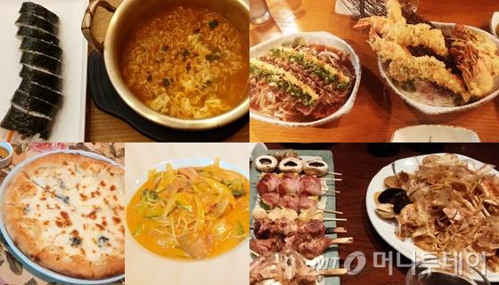 (왼)점심 메뉴로 선택한 참치 김밥과 라면, 피자와 파스타,(오)술안주 메뉴로 선택한 일본식 간장 요리, 튀김 음식 등./사진=마아라 기자