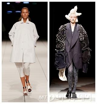 2014 S/S 이세이미야케 여성복 컬렉션(왼쪽), 꼼데가르송 여성복 컬렉션(오른쪽)/사진제공=삼성에버랜드 패션부문