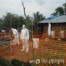 국경없는 의사회 직원들이 보호복을 입고 에볼라바이러스 방역활동을 하고 있다./사진제공=미국 질병통제예방센터(CDC)