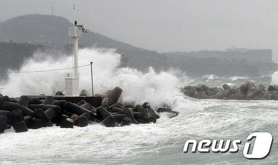 제12호 태풍 나크리가 북상중인 2일 오후 집채만한 파도가 서귀포시 법환포구 등대를 덮치고 있다. / 사진=뉴스1
