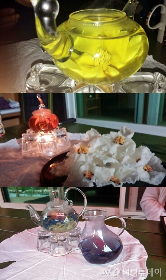 꽃이 품은 향과 빛을 우려내는 꽃차는 보기에도 좋은 것이 맛도 좋다.