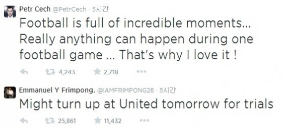 체흐와 프림퐁이 맨유 패배 직후 트위터에 반응을 남겼다. /사진=체흐, 프림퐁 트위터 캡쳐<br /> <br />