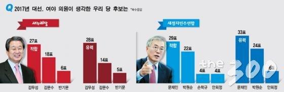 여야 국회의원이 뽑은 2017 대선후보는?/그래픽=김현정 머니투데이 디자이너