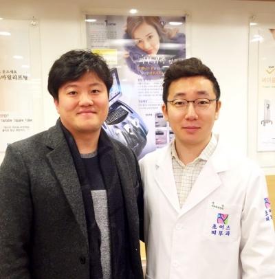 (왼쪽부터) 문종수 웨이웨어러블 대표와 공동창업자인 피부과 전문의 오가나 원장/사진=웨이웨어러블 제공