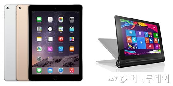 (왼쪽부터)아이패드 에어2, 요가 태블릿2