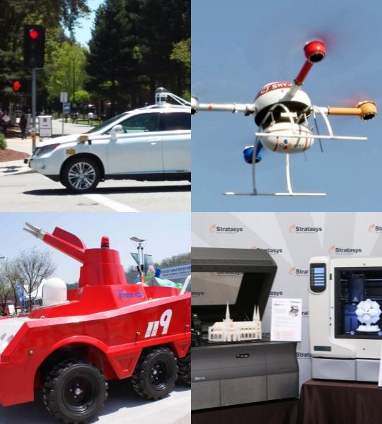 [자료사진](왼쪽 上부터 시계방향)구글 무인자율주행차, CJ대한통운의 드론, 3D프린터, 119 방재로봇