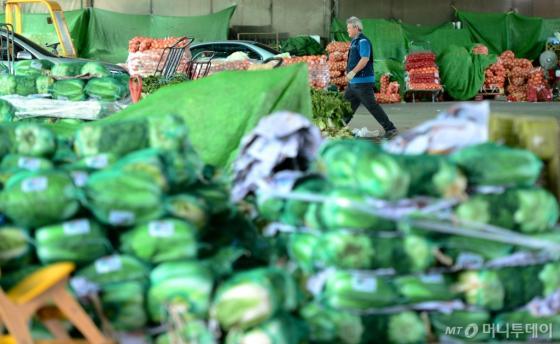 서울 송파구 가락동 농수산종합도매시장에서 한 상인이 물건을 정리하고 있다. /사진제공=뉴스1