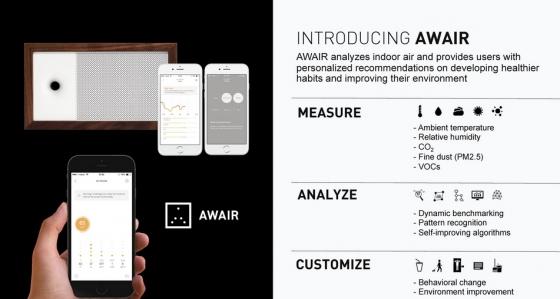 어웨어 기기와 앱 구동 화면/사진=비트파인더 제공