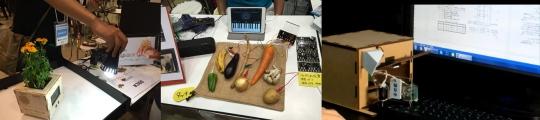 (왼쪽부터)햇빛을 따라 이동하는 화분, 각종 과일과 야채를 스마트 패드와 연동한 악기, 자동으로 키보드의 Ctrl+S를 눌러 문서를 자동저장해 주는 기구/사진=차두원 KISTEP 실장