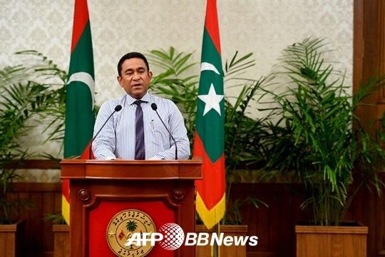 압둘라 야민 몰디브 대통령이 국가비상사태를 선포했다./AFPBBNews=뉴스1<br />