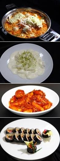 위부터 즉석떡볶이, 크림 수제 떡볶이, 오리지널 수제 떡볶이, 수제단무지김밥/사진제공=신라호텔