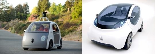 (왼쪽부터)구글카, 애플카 콘셉트 이미지