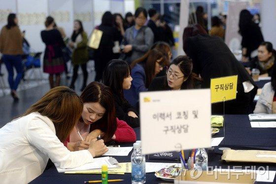 11월17일 오후 서울시청 시민청에서 열린 2015 결혼이민여성 취업박람회에서 여성들이 이력서를 작성하고 있다. 사진=뉴스1.