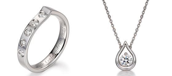 5년 근속자에게는 18K골드에 멜리 다이아몬드 5개가 세팅된 '근속기념반지'(왼쪽)를, 10년 근속자에겐 0.3캐럿 다이아몬드 목걸이를 증정한다./사진제공=골든듀