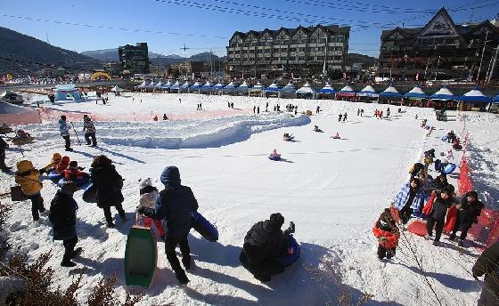 아이들과 함께 '대관령 눈꽃축제'를 찾은 가족들은 눈썰매, 얼음썰매 등 다양한 레포츠 활동을 즐길 수 있다. /사진제공=대관령 눈꽃축제위원회