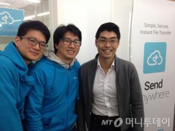 (왼쪽부터) 오윤식 이스트몹 대표, 강수혁 이사, 안세민 라쿠텐벤처스 매니징 파트너/사진=이해진 기자