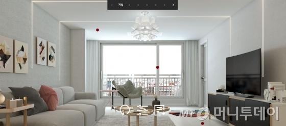 LG하우시스의 3D 시뮬레이션 서비스인 '지인 시뮬레이션'을 통해 115㎡면적의 아파트 거실 인테리어를 '모던 스타일'로 꾸며 본 모습