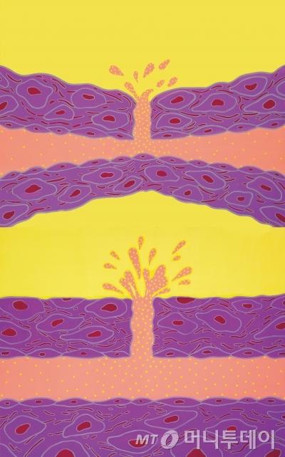 김푸르나의 '더 보더리스 보디-혈액의 순환 2', 145.4x 90.9cm, 캔버스에 아크릴 채색, 2014. /사진제공=아트1
