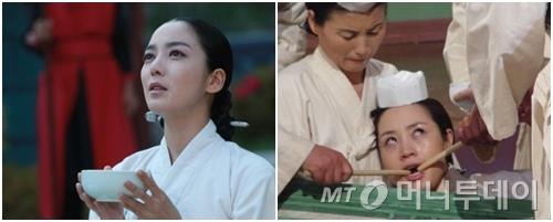 MBC '동이'와 KBS 2TV '장희빈'에서 각각 장희빈 역을 맡은 이소연(왼쪽)과 김혜수가 사약을 받는 모습. /사진= KBS 2TV, MBC 캡처