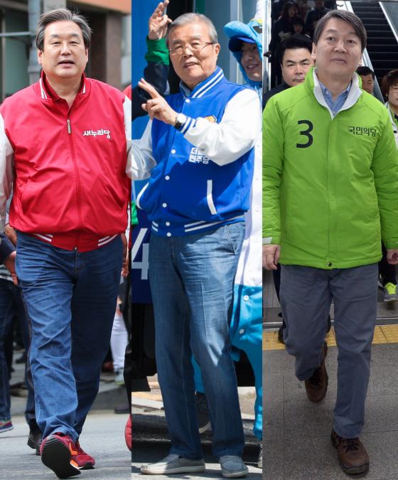 왼쪽부터 김무성 새누리당 대표, 김종인 더민주 비상대책위 대표, 안철수 국민의당 공동대표.