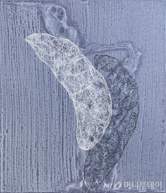 유-토포스(U-Topos) 16002,  53 × 45.5cm, 캔버스에 아크릴 채색, 구타, 2016.