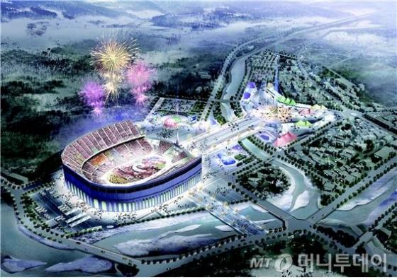 2018 평창동계올림픽 개·폐막식이 열리는 올림픽플라자 전경 조감도. /사진제공=평창동계올림픽 조직위원회<br />