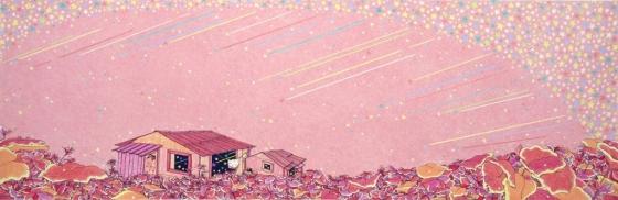 이보윤의 '집-인생은 아름다워', 2015, 종이에 펜과 색연필, 26x78 cm.