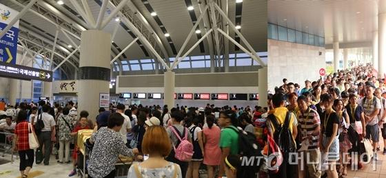 지난 5일 제주공항(왼쪽) 3층 국제선터미널에 출국을 준비하는 중국인 관광객들로 인산인해를 이루고 있다. 지난 4일 제주항 국제여객선터미널(오른쪽) 역시 출국을 기다리는 중국인관광객의 줄이 터미널 바깥까지 이어지고 있다./사진=김민우 기자