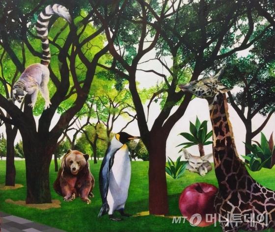 김현이의 애니몰랜트 19(The Animalant 19), 2015, 종이 위에 혼합재료, 38 x 45.5cm.