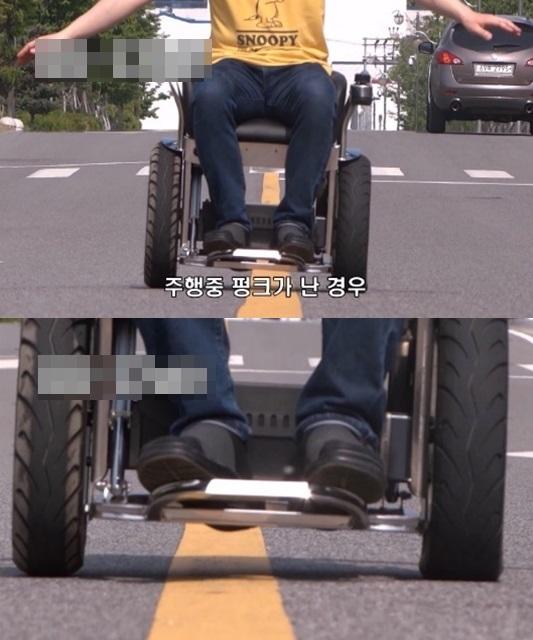 1인용 이동로봇(PM)이 바퀴가 고장난 상황에서도 직진 이동을 이어가는 모습. / 사진=로보쓰리 제공