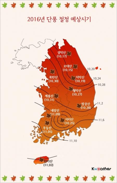 케이웨더가 11일 발표한 단풍 절정 예상시기/사진=케이웨더 제공